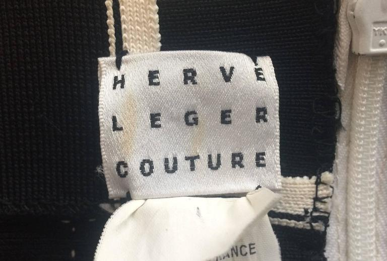 1990s Herve Leger Couture sexy black and white bandage halter-neck dress 2