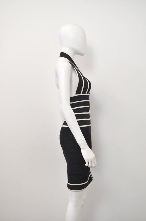 1990s Herve Leger Couture sexy black and white bandage halter-neck dress 3