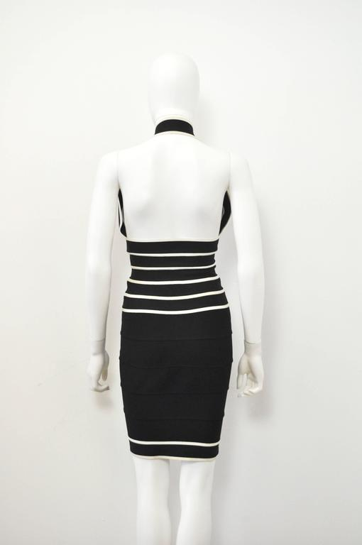 1990s Herve Leger Couture sexy black and white bandage halter-neck dress 4