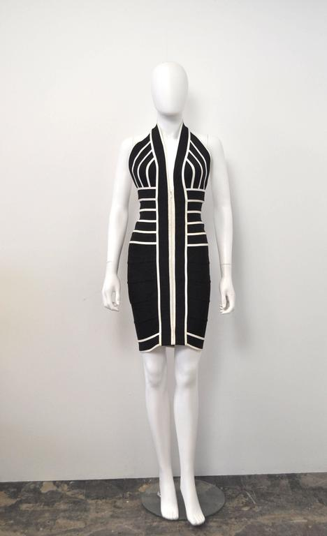 1990s Herve Leger Couture sexy black and white bandage halter-neck dress 5