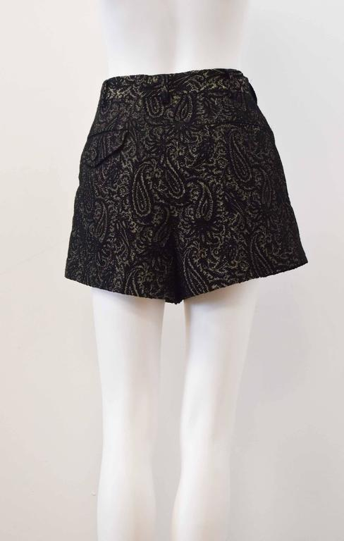 Comme des Garcons Black and Gold Brocade Shorts 2011 6