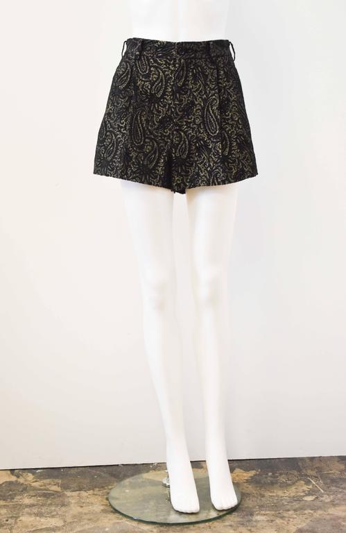 Comme des Garcons Black and Gold Brocade Shorts 2011 7