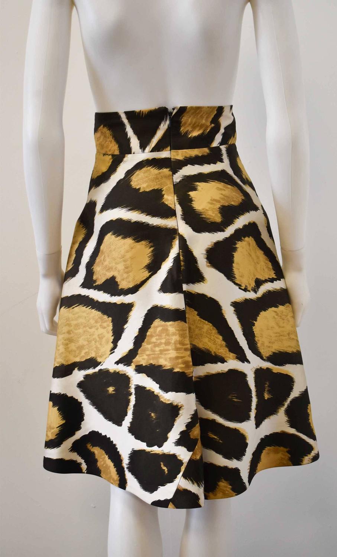giles animal print a line high waisted silk skirt for sale
