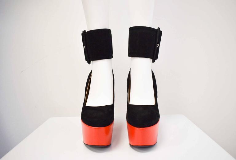 Celine S/S12 Black Suede and Red Leather Platform Ankle Strap Heels Size 38.5 2