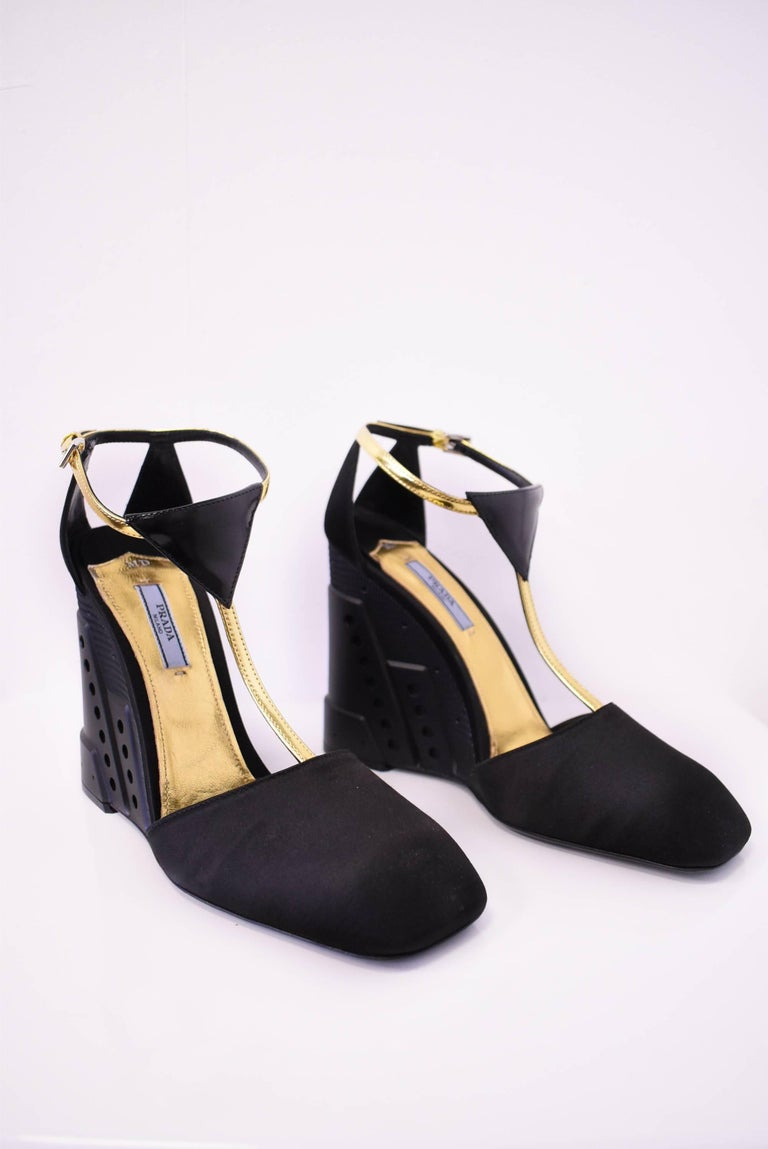Prada Black Wedge Shoes With Gold Ankle Strap Unworn With