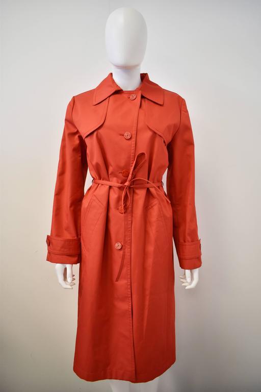 Yves Saint Laurent Rive Gauche Red Vintage Trench Coat 2