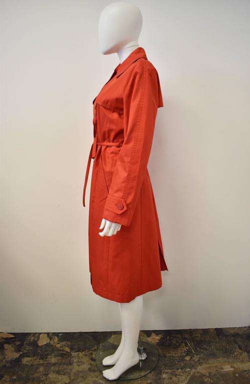 Yves Saint Laurent Rive Gauche Red Vintage Trench Coat 4