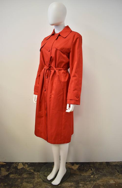 Yves Saint Laurent Rive Gauche Red Vintage Trench Coat 5