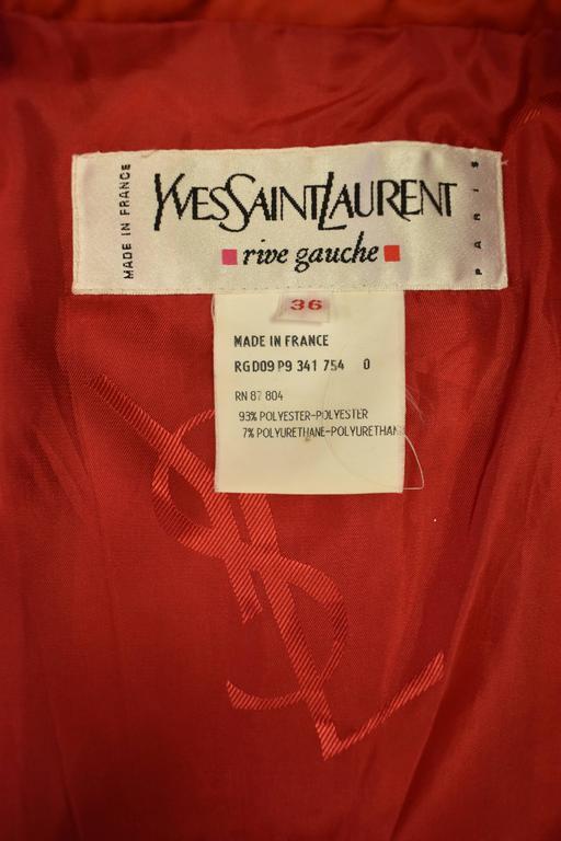 Yves Saint Laurent Rive Gauche Red Vintage Trench Coat 7