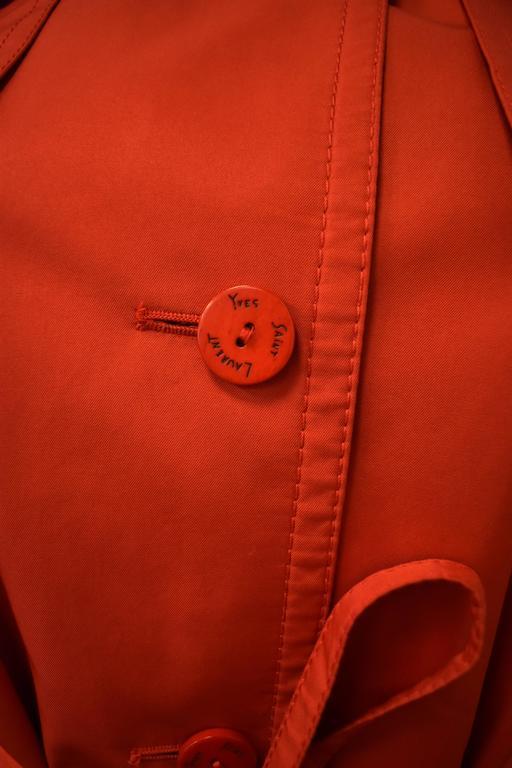 Yves Saint Laurent Rive Gauche Red Vintage Trench Coat 8
