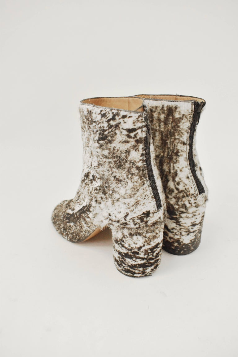 Maison Martin Margiela White and Brown Ponyskin 'Socks' Ankle Boots 3