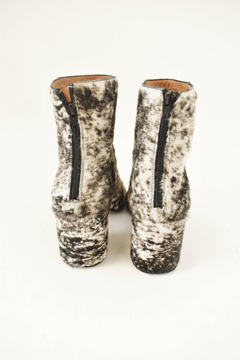 Maison Martin Margiela White and Brown Ponyskin 'Socks' Ankle Boots 4