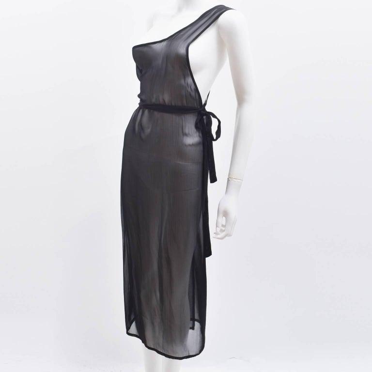 Ann Demeulemeester Black Silk Sheer One Shoulder Apron Dress 2