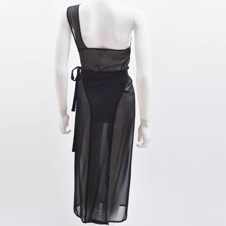 Ann Demeulemeester Black Silk Sheer One Shoulder Apron Dress 4