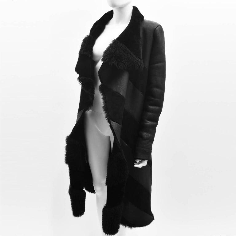 Gareth Pugh Black Open Drape Sheepskin Coat with Diagonal Stripes A/W 11 2