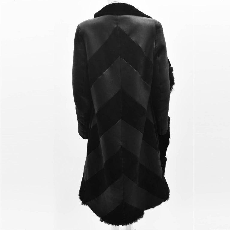 Gareth Pugh Black Open Drape Sheepskin Coat with Diagonal Stripes A/W 11 4