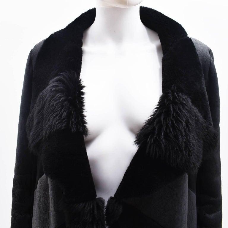Gareth Pugh Black Open Drape Sheepskin Coat with Diagonal Stripes A/W 11 5