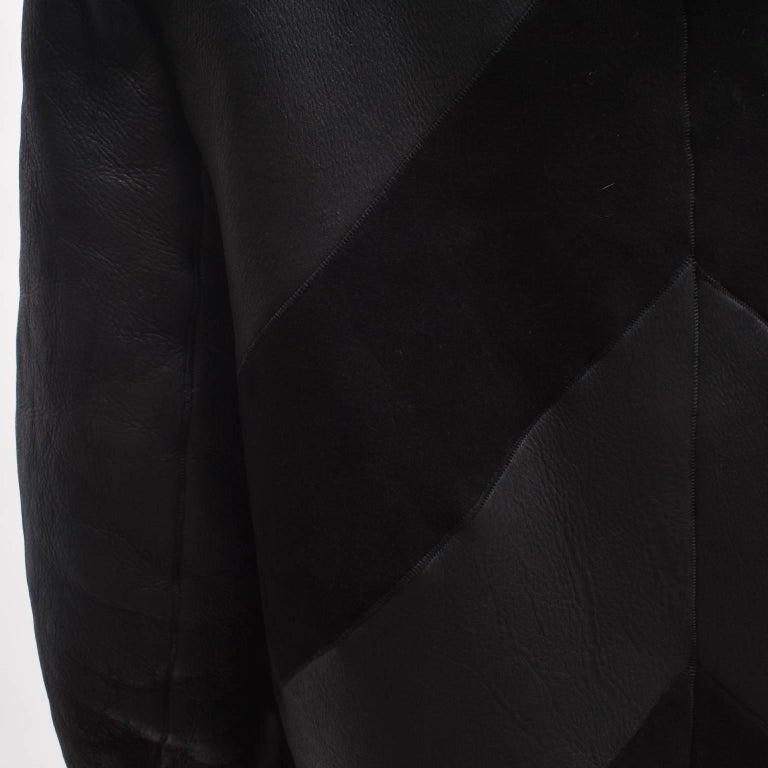 Gareth Pugh Black Open Drape Sheepskin Coat with Diagonal Stripes A/W 11 6