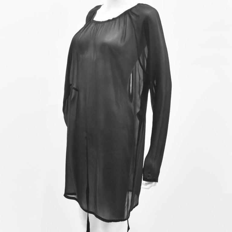 Ann Demeulemeester Black Silk Sheer Multifunction Top/Dress 2
