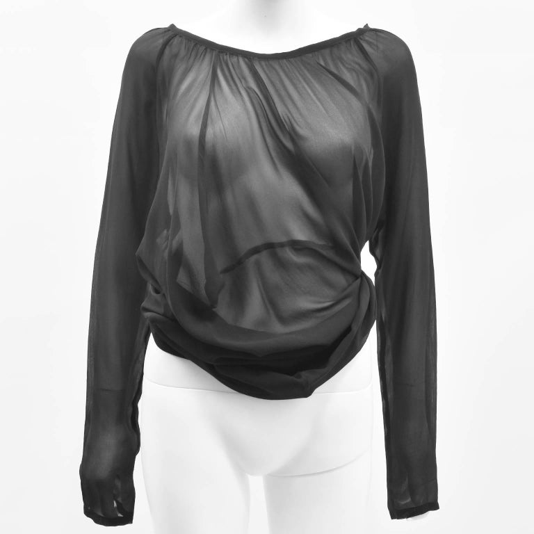 Ann Demeulemeester Black Silk Sheer Multifunction Top/Dress 6