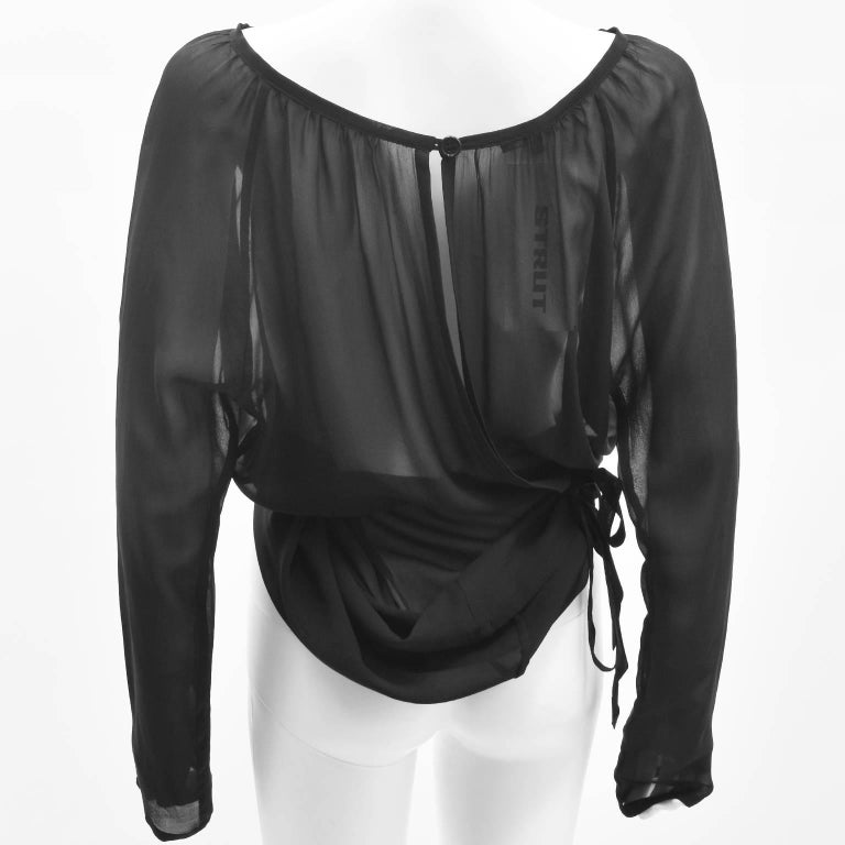 Ann Demeulemeester Black Silk Sheer Multifunction Top/Dress 7