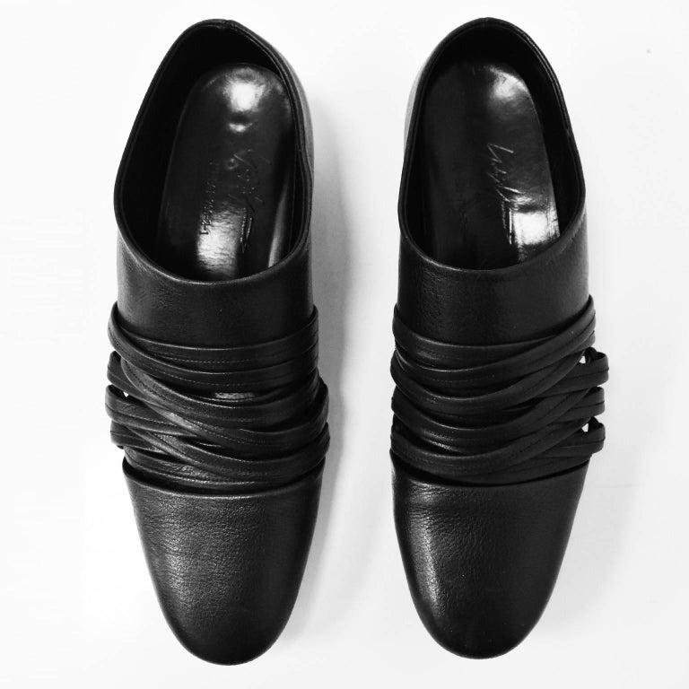 Yohji Yamamoto Black Leather Multi Strap Slip On Shoes 2