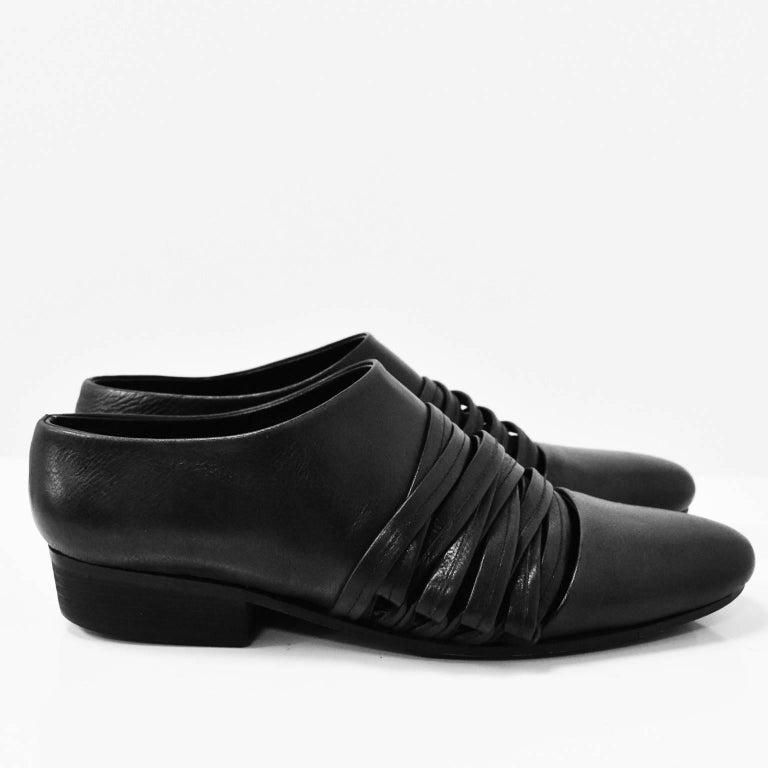 Yohji Yamamoto Black Leather Multi Strap Slip On Shoes 3