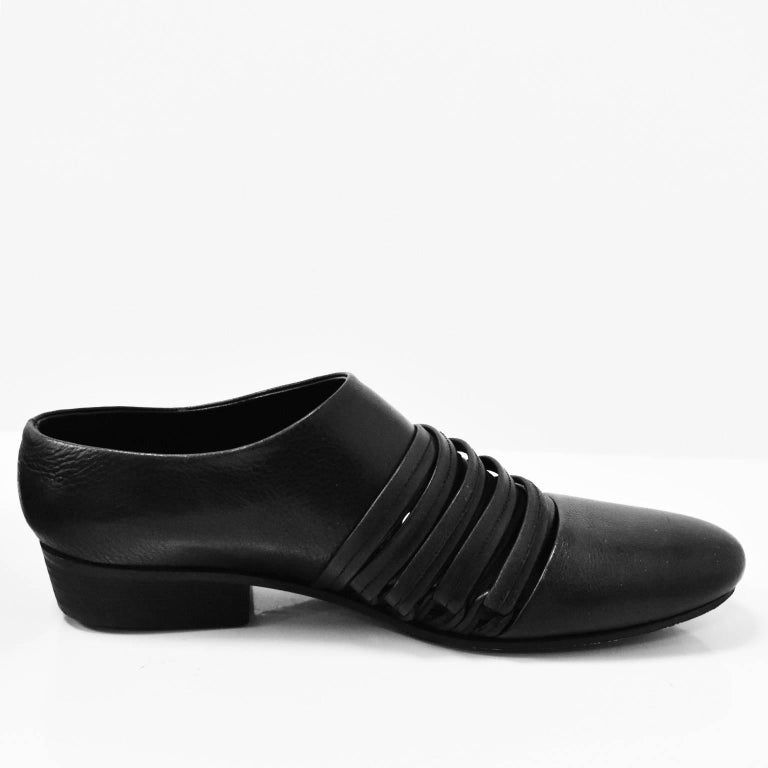 Yohji Yamamoto Black Leather Multi Strap Slip On Shoes 4