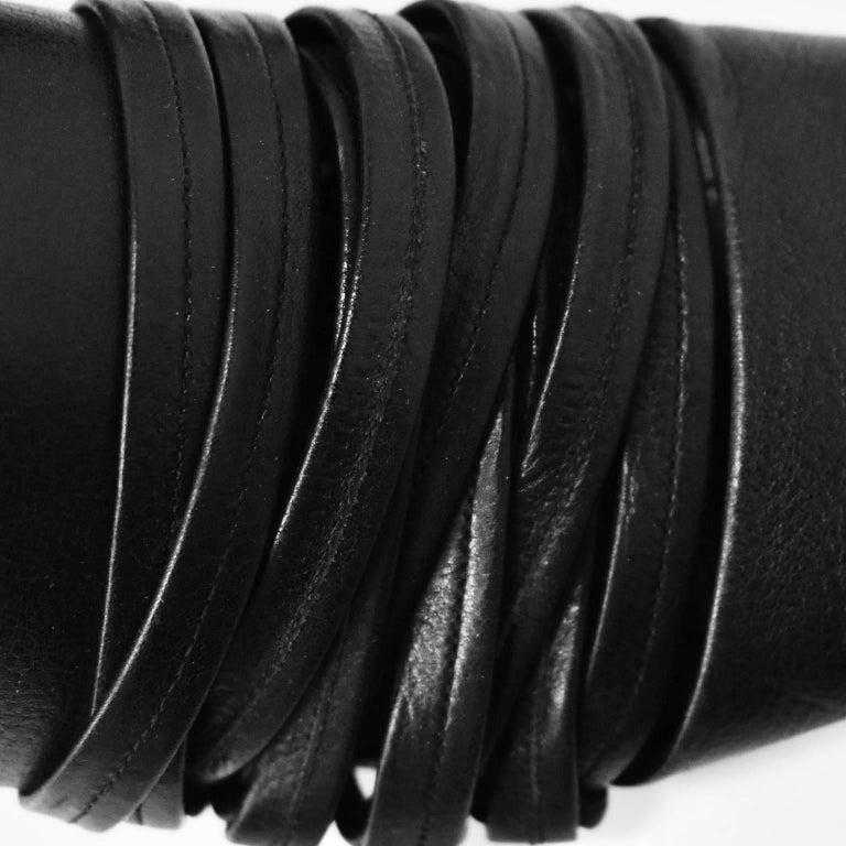 Yohji Yamamoto Black Leather Multi Strap Slip On Shoes 7