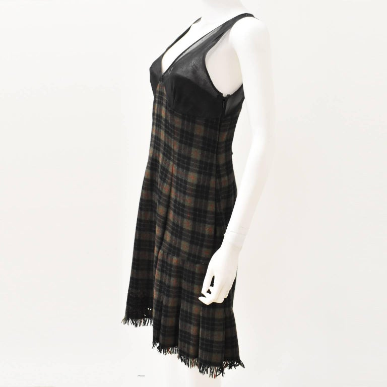 Jean Paul Gaultier Green Check Dress with Sheer Panel Details 1990's 2