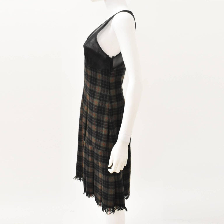Jean Paul Gaultier Green Check Dress with Sheer Panel Details 1990's 3