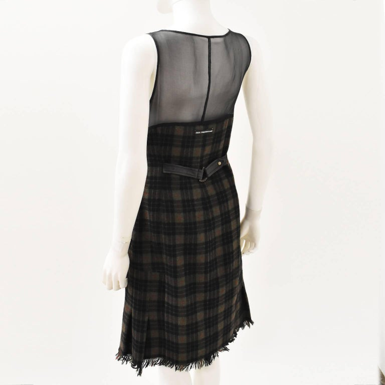 Jean Paul Gaultier Green Check Dress with Sheer Panel Details 1990's 4