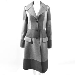 Alexander McQueen Grey Two-Tone Panelled Long Wool Coat