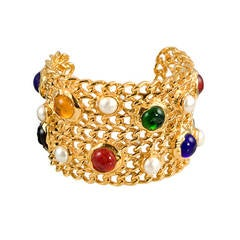 """Chanel Gold Tone """"Chain""""and Poured Glass Cuff"""