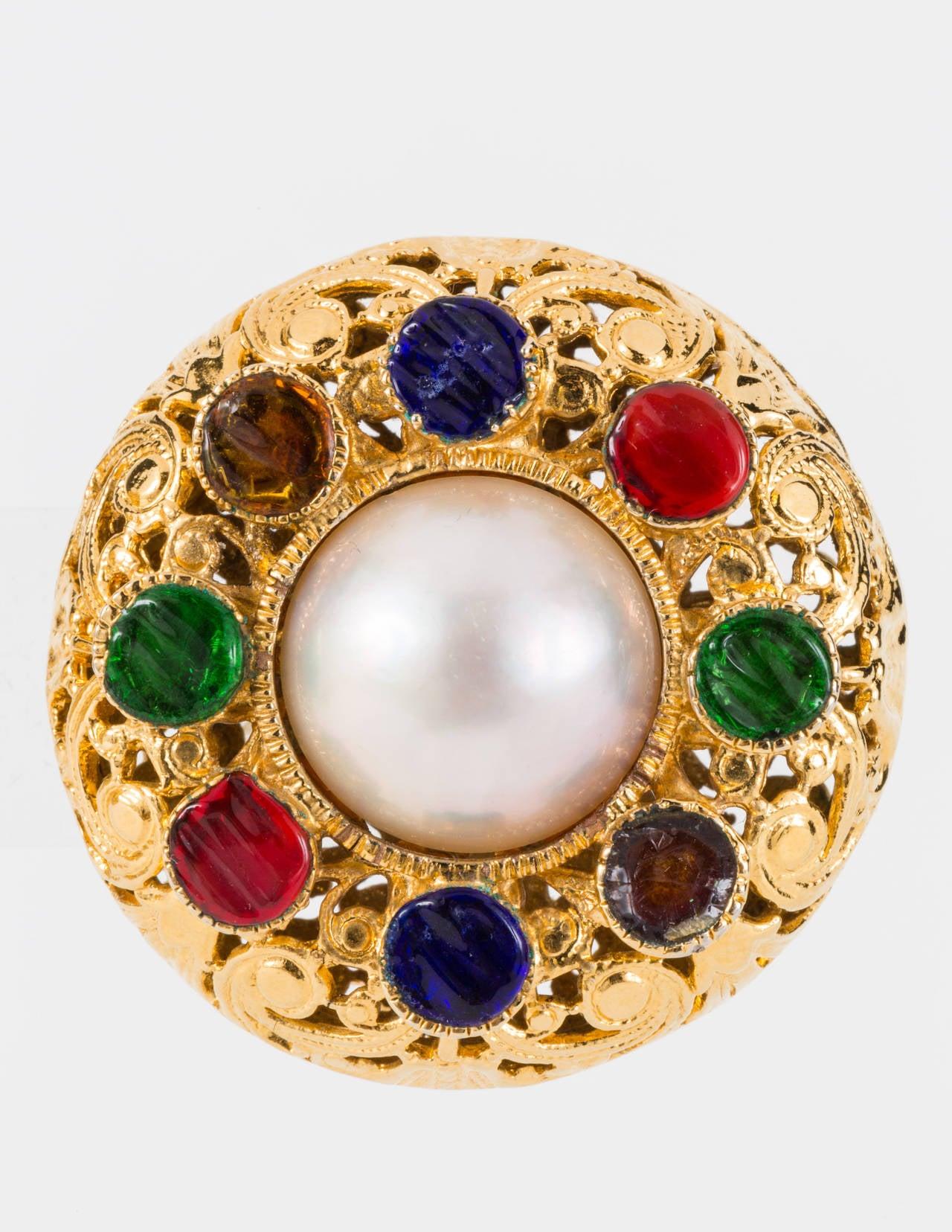 Chanel Gripoix Filagree Clip Earrings 2