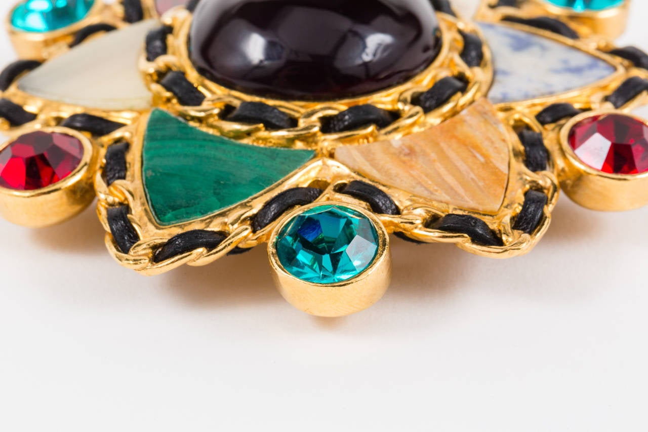 Women's Gripoix and Hardstone Gilt Brooch by Chanel For Sale