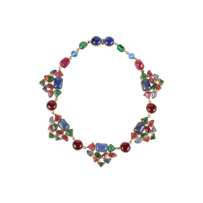 Beautiful & Colorful Gripoix Necklace attributed to Chanel 1