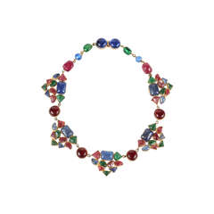 Beautiful & Colorful Gripoix Necklace attributed to Chanel