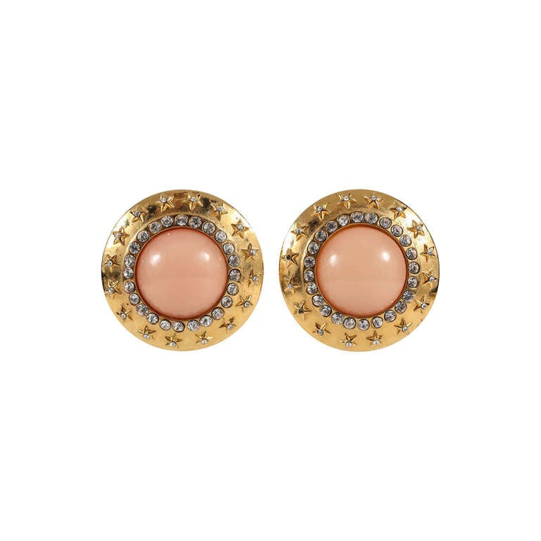 Chanel Faux Coral, Gilt & Rhinestone Ear Clips For Sale