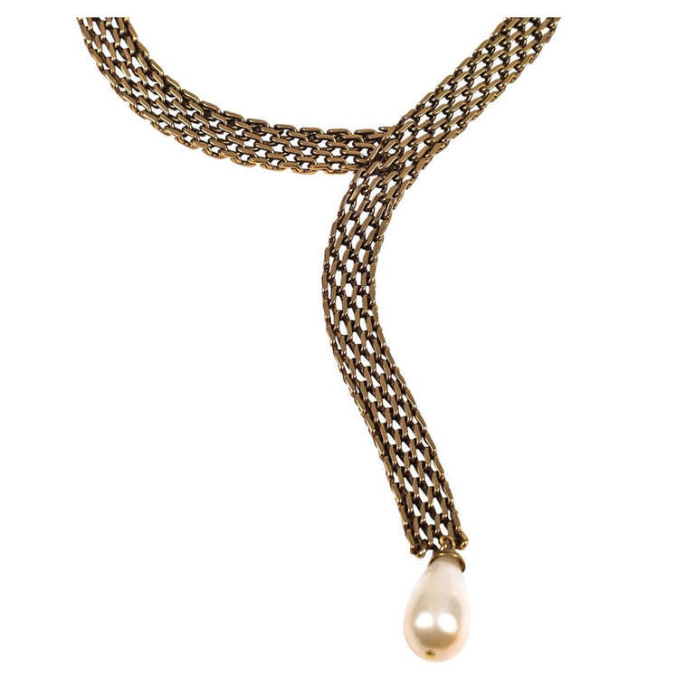 chanel lariat necklace with pearl teardrop at 1stdibs