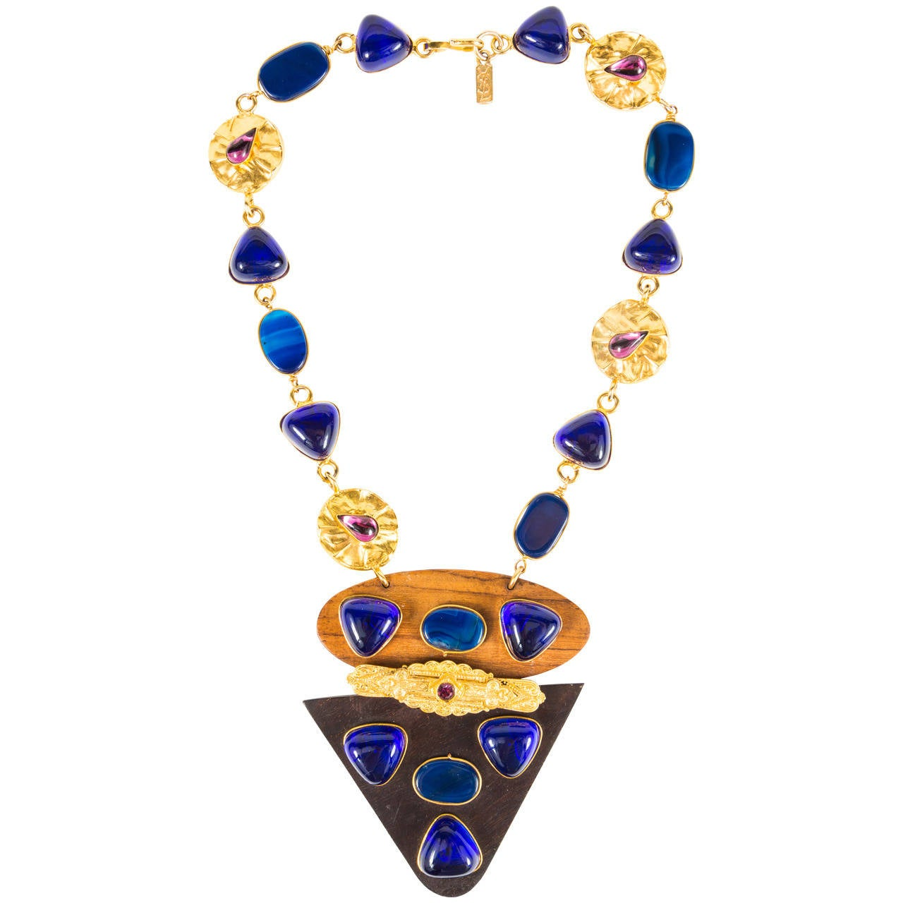 Triangular Mixed Materials Yves Saint Laurent Necklace For Sale