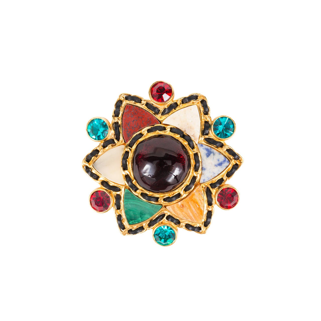 Gripoix and Hardstone Gilt Brooch by Chanel For Sale