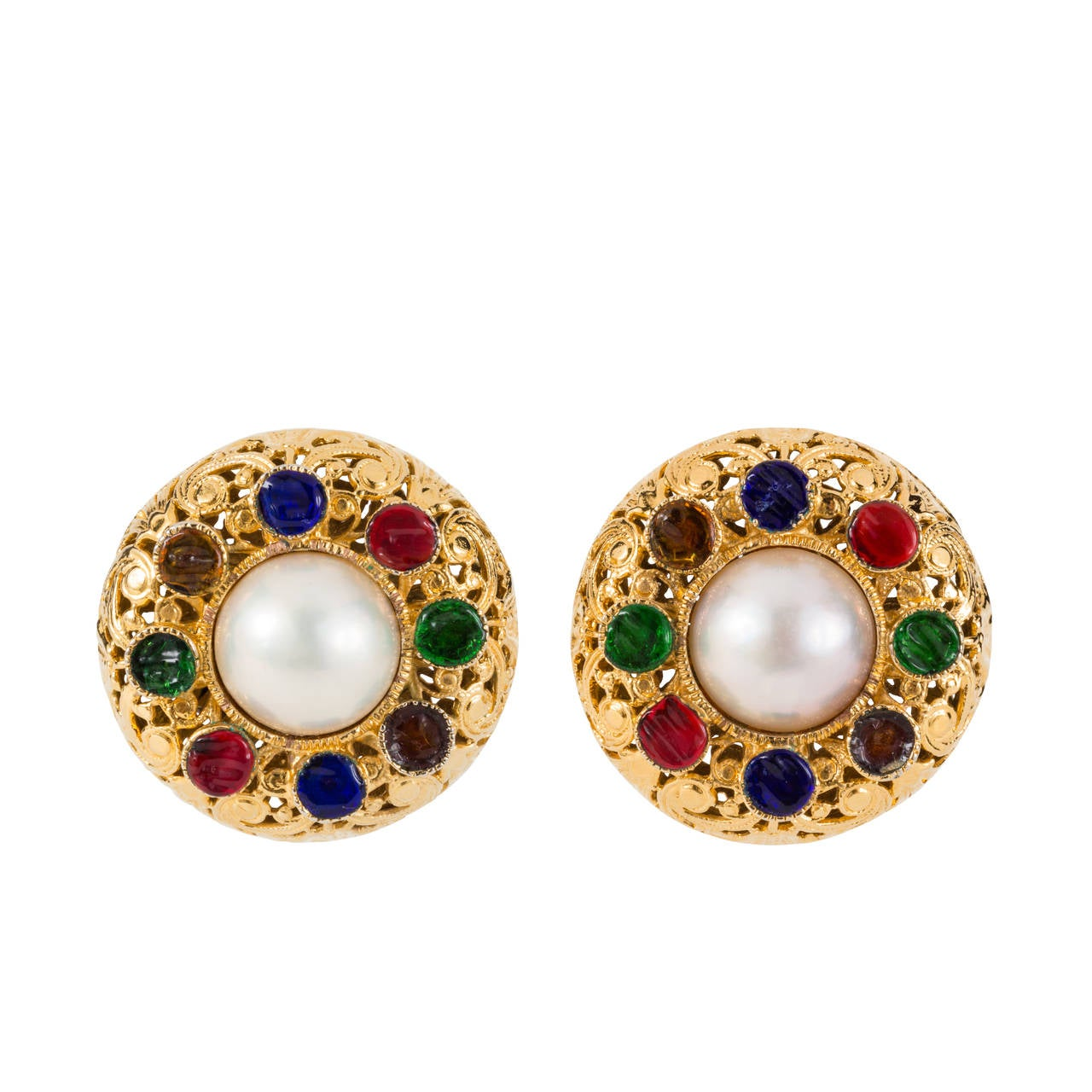 Chanel Gripoix Filagree Clip Earrings 1