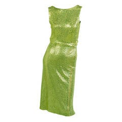 Norman Norell for Traina-Norell Chartreuse Sequin Mermaid Dress