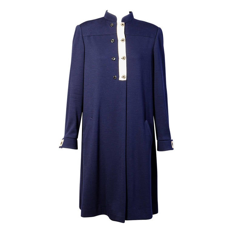 Geoffrey Beene Navy Blue Trapeze Dress Larger Size For Sale