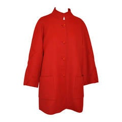 Italian-Red Fully Lined Wool Car Coat with Supreme Detailed Top-Stitching