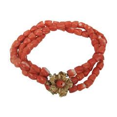14 Karat Gold Coral Floral accent Bracelet