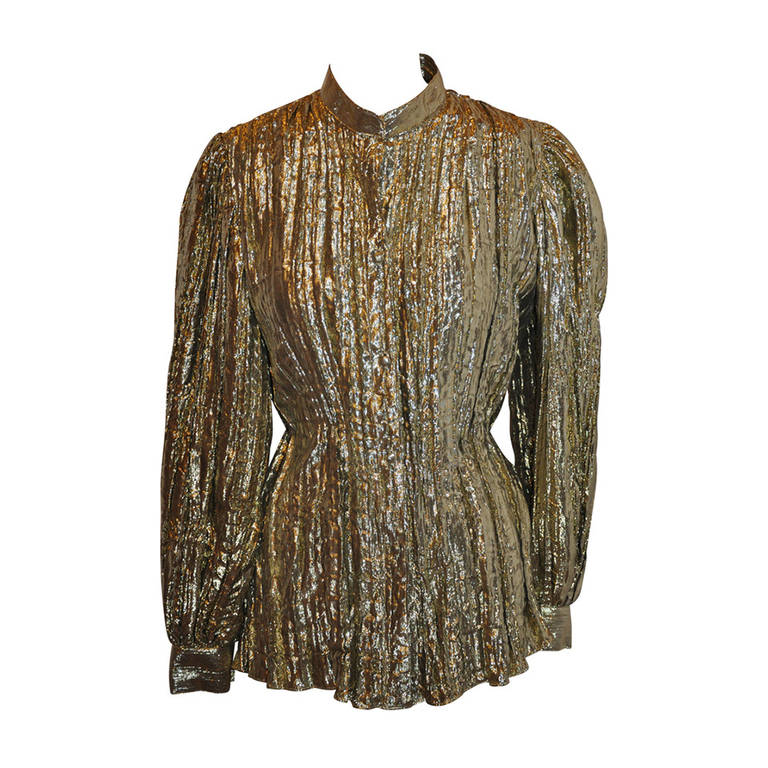 68e178cf6 ADRI Gold Lame Manderin Collar Blouse For Sale at 1stdibs