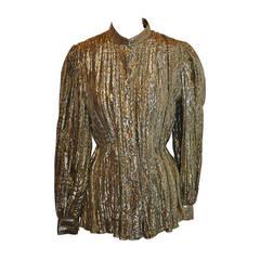 ADRI Gold Lame Manderin Collar Blouse