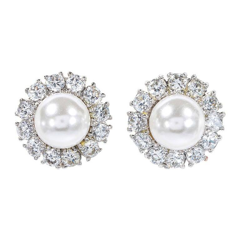 Faux Diamond Pearl Cluster Earclips 1